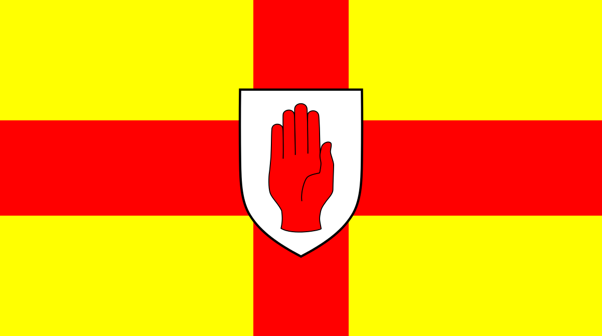 flag, red, hand, ulster, Ireland, Irish, printed, sewn