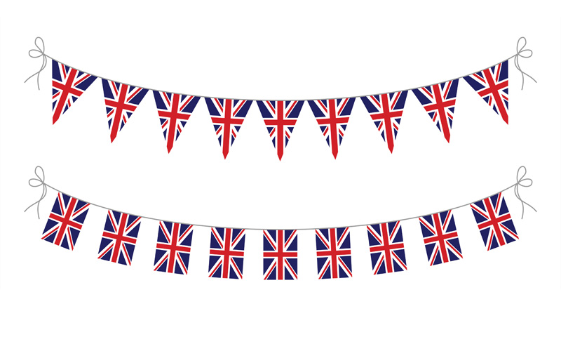 bunting, union jack, national, flag,, printed, different sizes, bespoke, design, advertising, brand, fate, event,, celebration