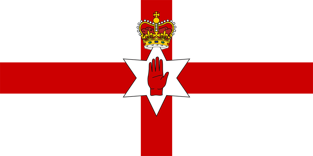 Norther,n Ireland, Red, Hand of Ulster, flag, national, printed