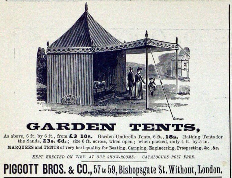 Garden tents manufactured by Piggotts Bros