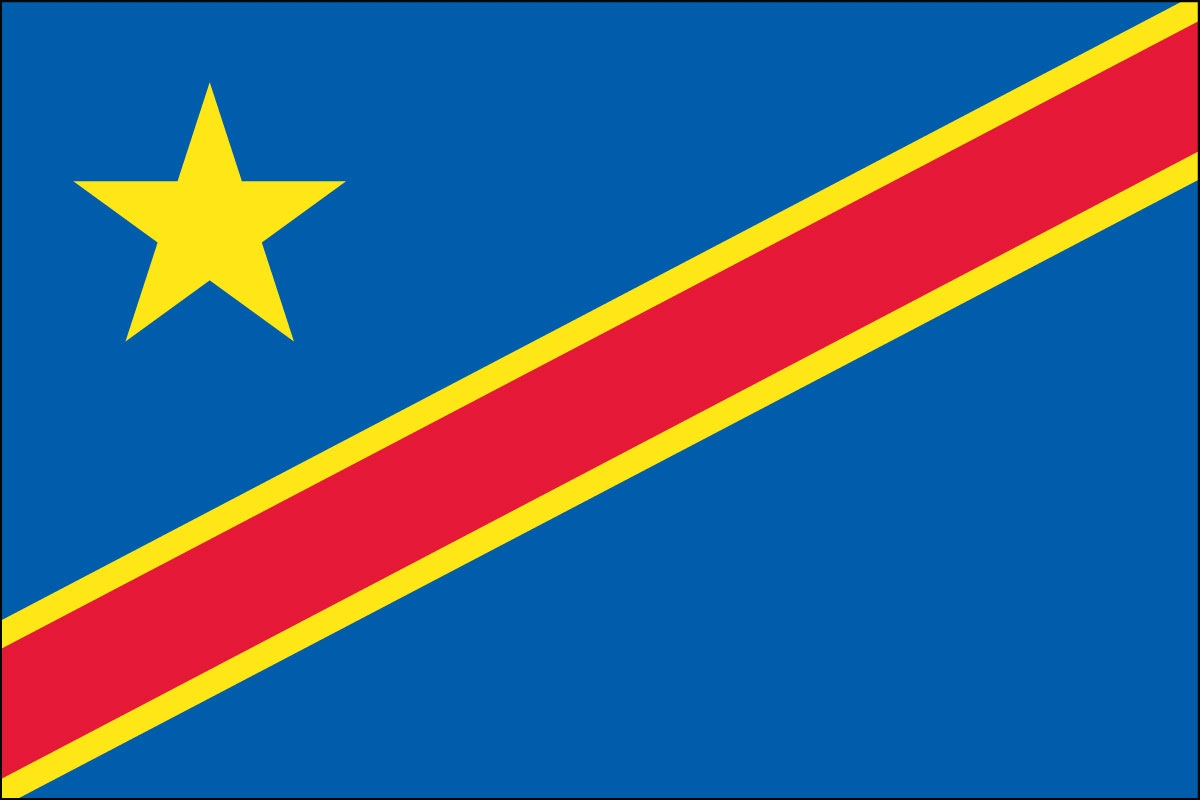 democratic republic of congo, national, flag, sewn